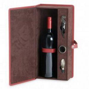 COFANETTO regalo in pelle con velluto all'interno e 3 elementi da vino