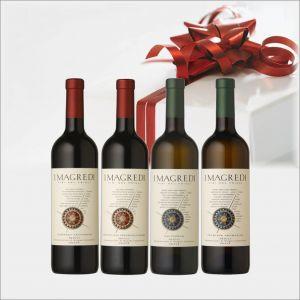 Confezione da 4 bottiglie composta da:  1 REFOSCO P. R. ROSSO Friuli V.Giulia 75 cl. 1 CABERNET SAUVIGNON ROSSO Friuli V.Giulia 75 cl. 1 SAUVIGNON BIANCO Friuli V.Giulia 75 cl. 1 TRAMINER AROMATICO BIANCO Friuli V.Giulia 75 cl.